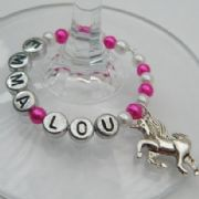 Unicorn Personalised Wine Glass Charm - Full Bead Style